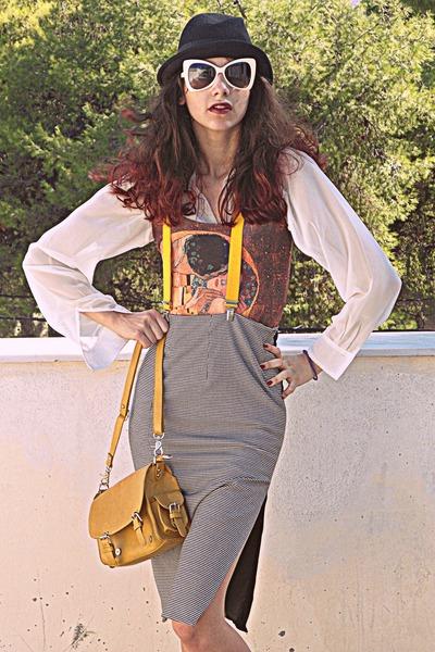 black houndstooth Zara skirt - burnt orange klimt romwe dress - mustard bag