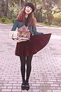 Black-beret-hat-black-tights-crimson-velvet-romwe-skirt