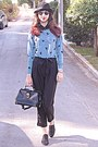 Black-oxford-shoes-black-hat-sky-blue-swallow-romwe-sweater