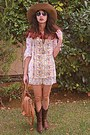 Bubble-gum-floral-vj-style-blouse-brown-cowboy-boots-bronze-h-m-hat