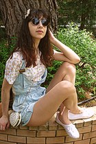white heart studded romwe bag - light blue dungarees DIY shorts
