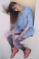 amethyst galaxy romwe leggings - pink OASAP boots - sky blue shirt