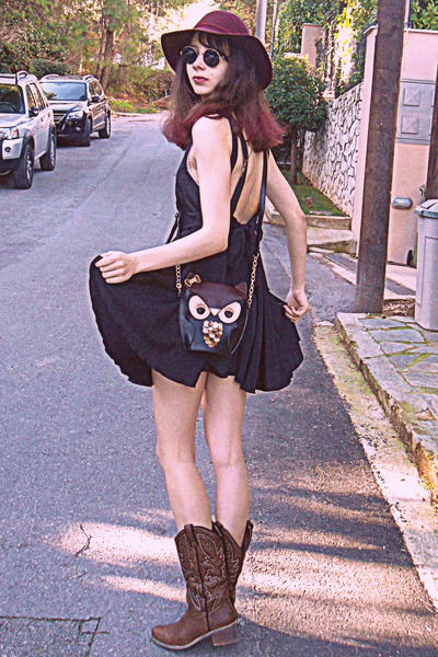 black owl bag - brown cowboy boots - black romwe dress - maroon H&M hat