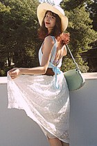 ivory lace Chicwish skirt - light blue open back romwe dress - ivory hat