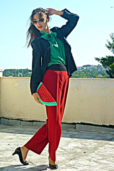 red pants - black blazer - red watermelon DIY bag - black pumps