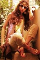 brown Stradivarius bag - ivory Accessorize sunglasses - beige pants - off white