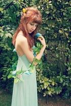 aquamarine maxi romwe dress - neutral sandals Zara heels