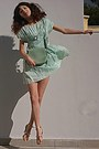 Aquamarine-ruched-oasap-dress-aquamarine-bag-neutral-zara-heels