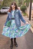 navy frayed denim jacket - black boots - aquamarine floral Ebay dress