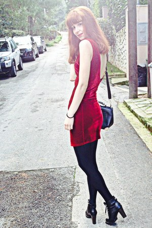 ruby red velvet dress - black Chicwish boots - black Chicwish bag