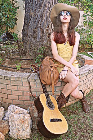 bronze Mimi Boutique bag - brown cowboy boots - mustard threadsence dress