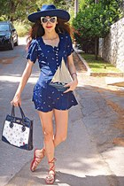 white anchors OASAP bag - navy anchors print Koogul dress - navy Zara hat