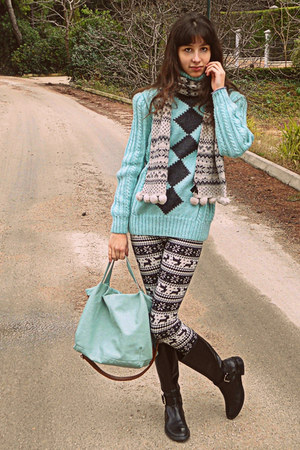 aquamarine jumper - black boots - white fair isle romwe leggings