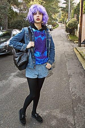 black romwe bag - navy frayed denim Zara jacket - sky blue denim romwe shorts
