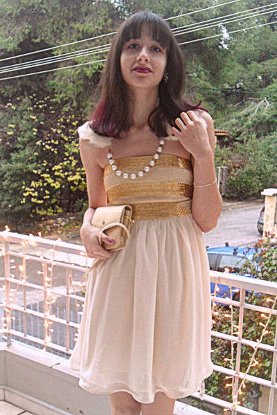 cream sequins chiffon dress - gold vintage dior purse - eggshell pearl earrings