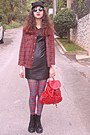 Black-ears-romwe-hat-black-leather-dress-red-plaid-choies-shirt