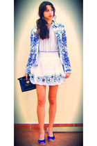 blue wedges - white denim floral jacket - navy vintage bag