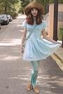 Tan-oxford-topshop-shoes-light-blue-oasap-dress-tan-h-m-hat