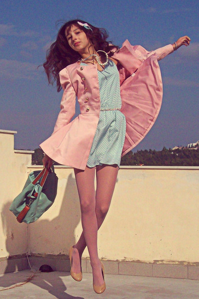 aquamarine striped lulus dress - light pink romwe coat - light pink tights