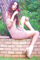 nude Steve Madden heels - nude Dorothy Perkins dress - beige Accessorize bag