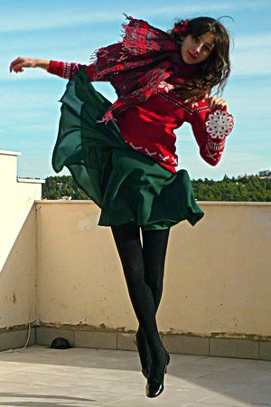 ruby red snowflake sweater - forest green H&M dress - black tights