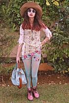 aquamarine floral romwe shorts - pink army OASAP boots - aquamarine tights