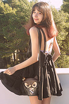black romwe dress - brown owl bag - black OASAP heels