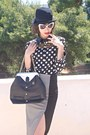 Black-polka-dot-romwe-shirt-black-hat-black-vj-style-bag