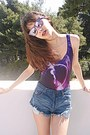 Navy-frayed-denim-romwe-shorts-magenta-mirror-giant-vintage-sunglasses