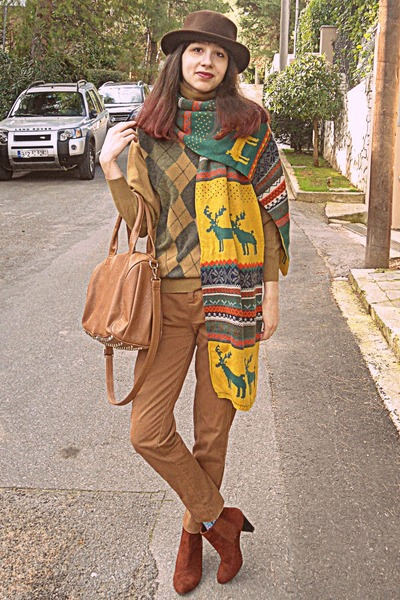 burnt orange boots - brown romwe hat - mustard fair isle Persun Mall scarf