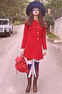 Brown-cowboy-boots-red-vj-style-coat-navy-zara-hat