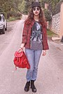 Black-ears-romwe-hat-periwinkle-levis-jeans-red-tartan-choies-shirt