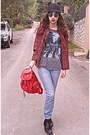 Periwinkle-levis-jeans-black-ears-romwe-hat-red-tartan-choies-shirt
