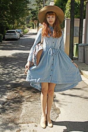sky blue denim romwe dress - camel H&M hat - sky blue floral romwe bag