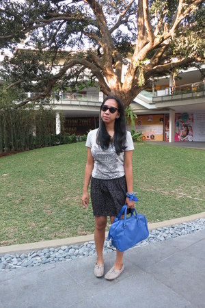 blue Parisian bag - silver oxford Cole Vintage shoes - black charlie sunglasses