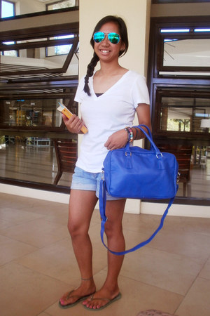 blue Parisian bag - denim shorts - aquamarine flash lens fly shades sunglasses