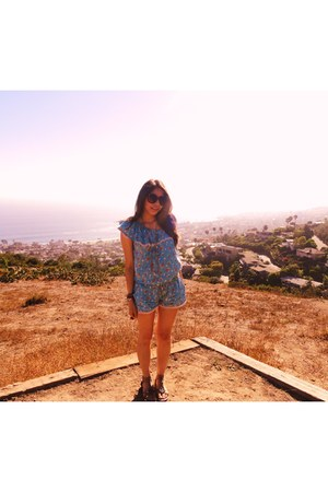 tfr Zara romper - asos sunglasses - sam edelman sandals - Mango necklace