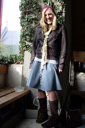 cotton on skirt - Diana Ferrari boots - Sportsgirl socks - Living Doll scarf - J