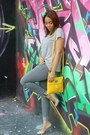 Heather-gray-h-m-jeans-yellow-nine-west-bag-zara-necklace