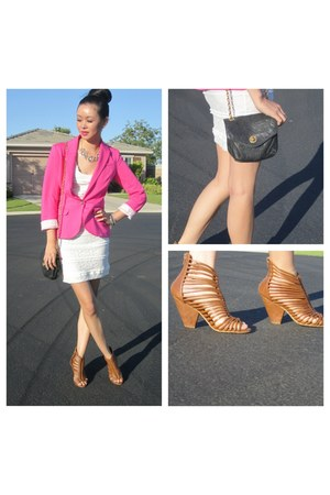 bubble gum H&M blazer - ivory cotton lace Forever 21 dress