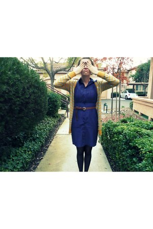 deep purple alternative dress - mustard Forever 21 cardigan - black Target flats