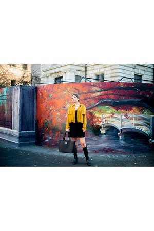 black Zara boots - black Mango dress - orange Zara jacket