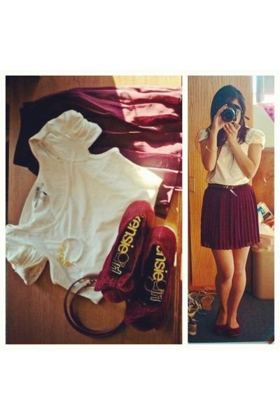 maroon chiffon Forever21 skirt - white cuffed tshirt Forever21 shirt