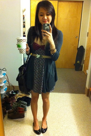 UO dress - Something from ROSS cardigan - Nine West flats