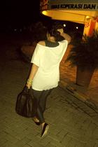 white supre t-shirt - black Miu Miu shoes - black Alexander Wang accessories - b