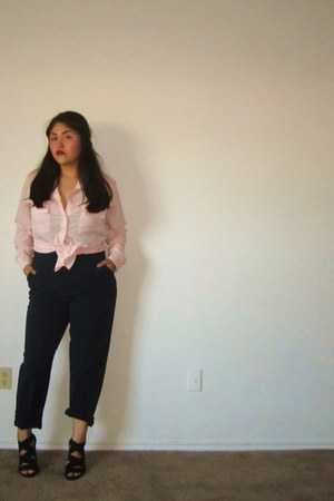 light pink shiffon unknown blouse - navy unknown pants - black elastic Rampage h