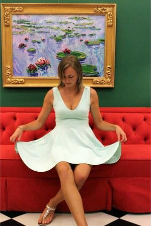 aquamarine Boohoo dress - white jeweled Cosmopolitan sandals