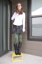 black vintage boots - olive green Charlotte Russe tights - black tights - black