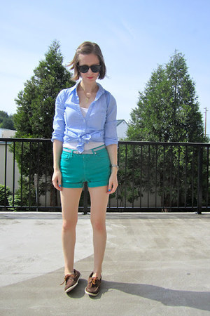 teal Gap Kids shorts - dark brown thrifted LL Bean shoes