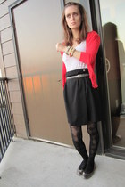 red American Rag cardigan - white Walmart t-shirt - black Goodwill skirt - gray